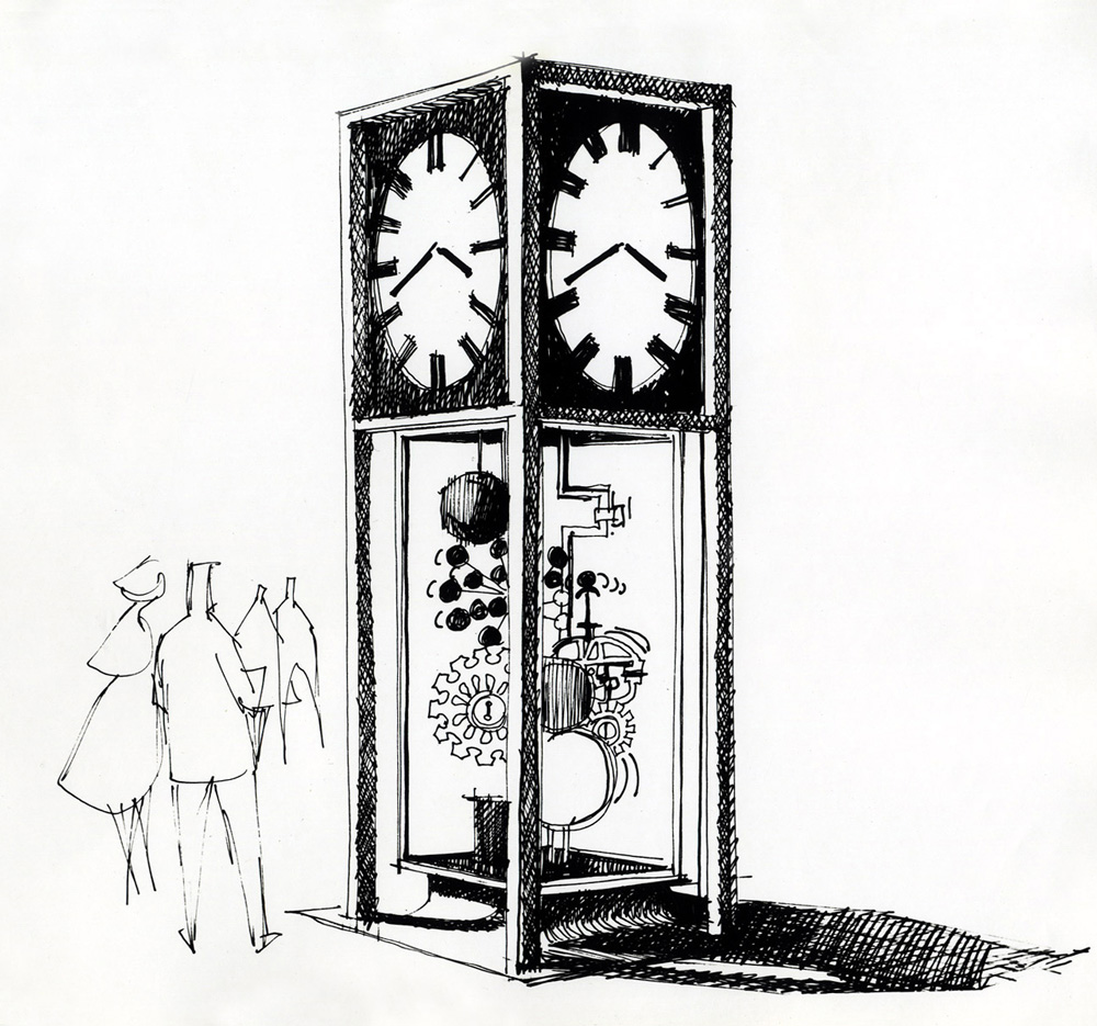 Proposal sketch for the Sculpture Clock