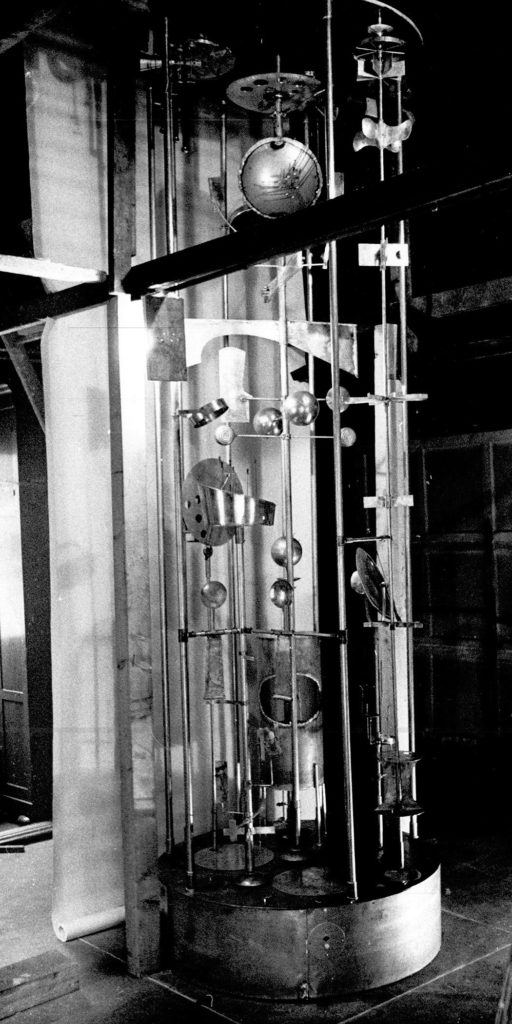 Black and white image of the clock mechanism