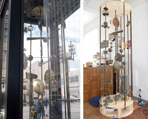 Two views of Sculpture Clock, historic image and restoration image.