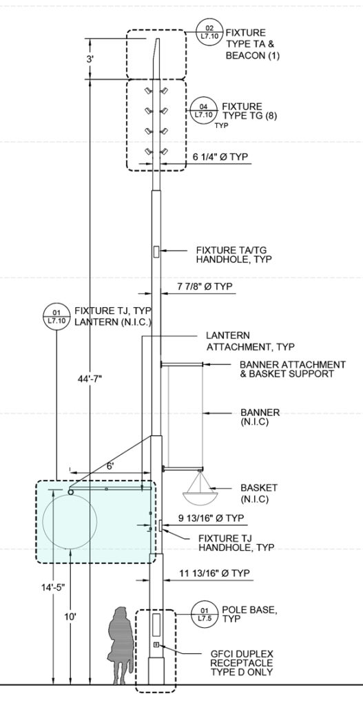 Schematic drawing of light pole.