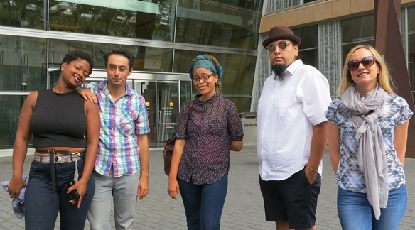 Photo of artist Blessing Hancock (on right) with writers Junauda Petrus, Moheb Soliman, Sagirah Shahid and Vincent Moniz Jr.
