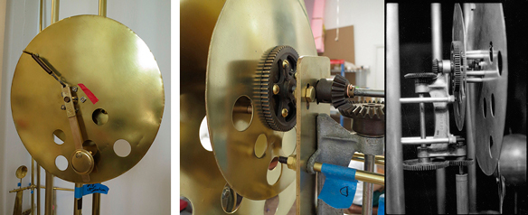 Three images of the clock mechanism.