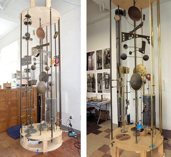 2 photos of clock in restoration studio